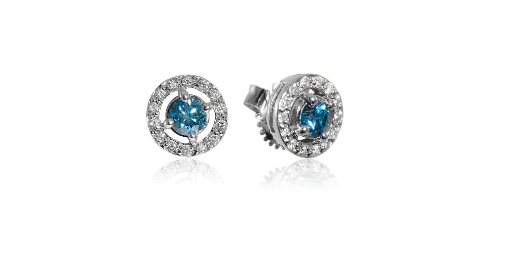White & Blue Diamond Mini Cluster Earrings