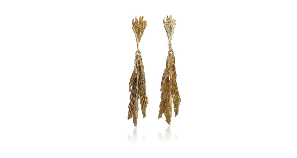Estate Gold 'Bark' Earrings