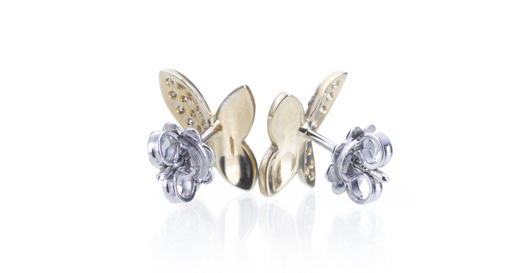 Diamond Pave & Gold Butterfly Stud Earrings