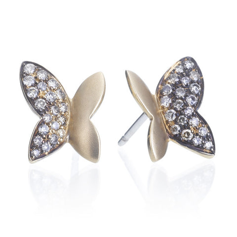 Novarese & Sannazzaro Diamond Pave & Gold Butterfly Stud Earrings