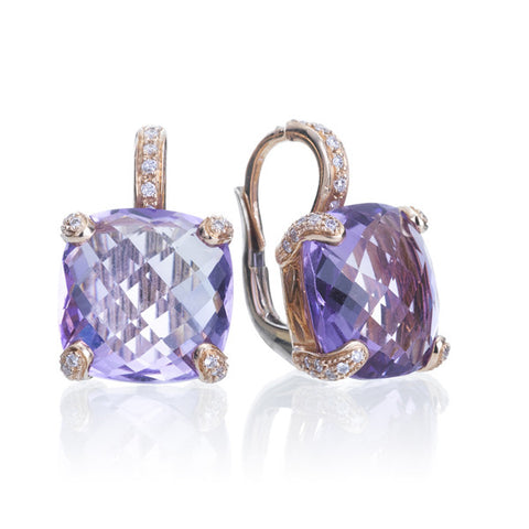 Novarese & Sannazzaro White Diamond & Amethyst Rose Gold Earrings