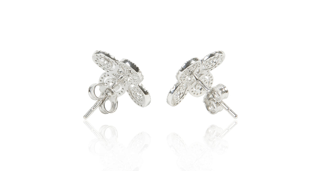 Parisian Filigree & Diamond Pave Clover Earrings