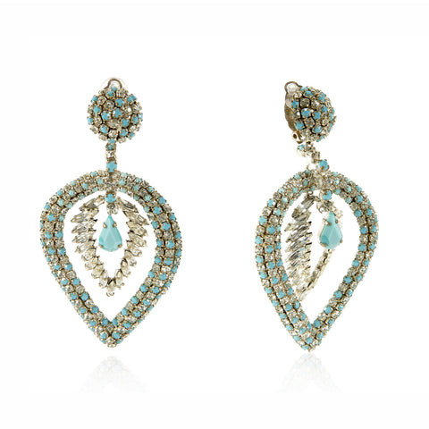 Diamond & Turquoise Paste Inverted Leaf Dangle Earrings, Circa 1960