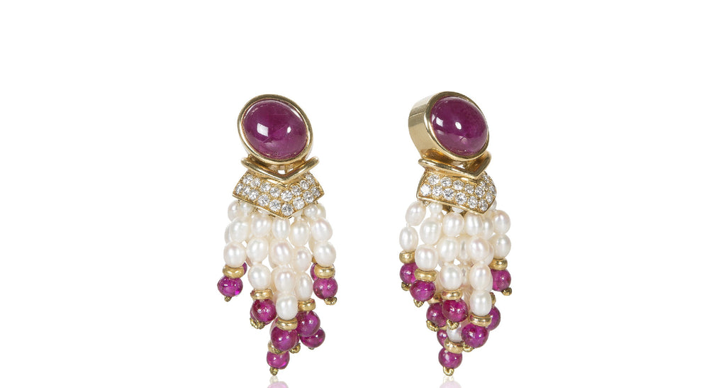 1960s Vintage Ruby, Pearl, and Diamond Sautoir Tassel Earrings