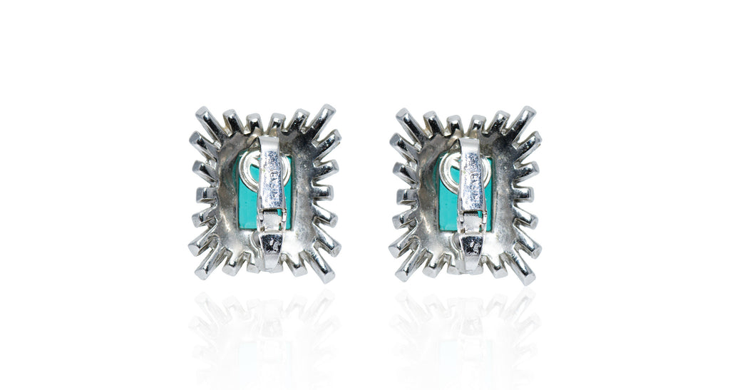 Emerald & Diamond Paste Ray Pattern Stud Earrings, Circa 1955