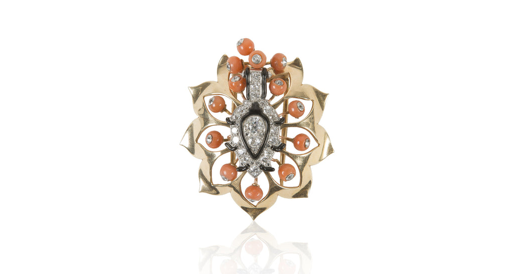 French Art Deco Coral, Diamond & Enamel Brooch/Pendant