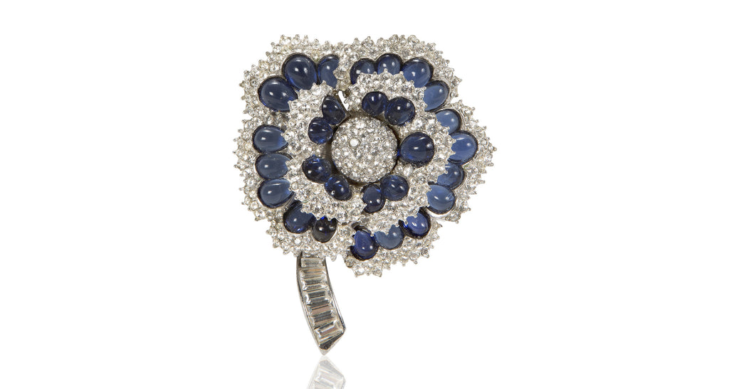 Sapphire Cabochon & Clear Paste Flower Pin, Circa 1980