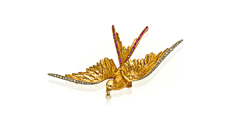 Victorian Mockingbird Brooch / Necklace