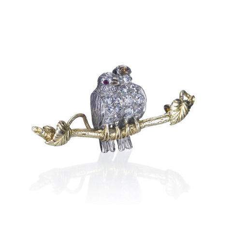 Estate Old Mine Cut Diamond & Ruby 'Lovebird' Bird Pin