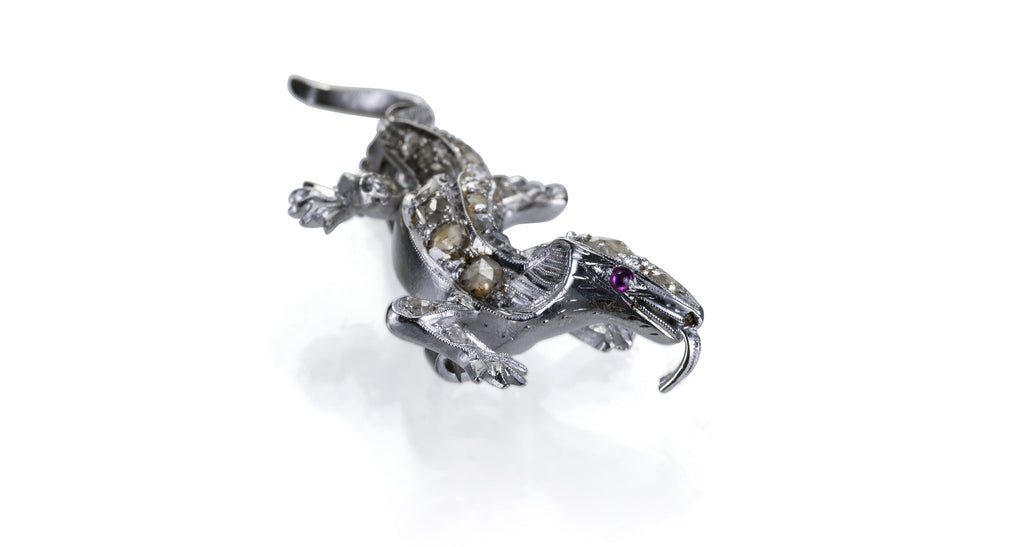 Estate Rose Cut Diamond Lizard Pin