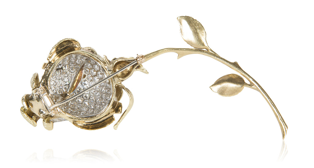 Gold & Diamond Rose Bud Brooch