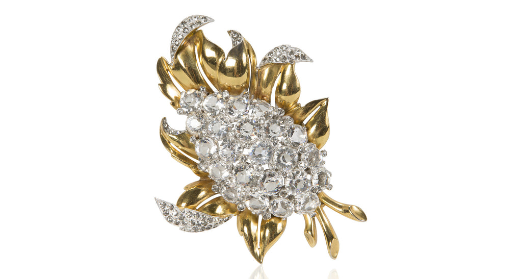 Gilt Leaf & Clear Pavé Paste Dome Brooch, Circa 1935