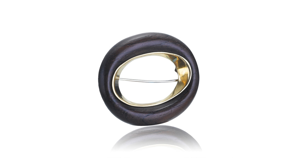 Van Cleef & Arpels Wood & Gold Circle Pin