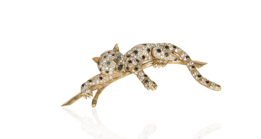 1970s French Diamond & Black Onyx Panther Brooch