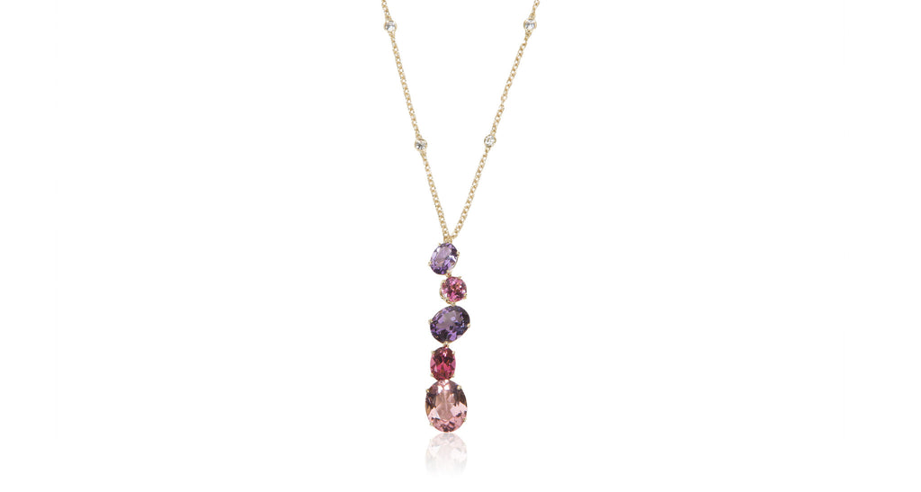 Chaos Collection Multi-Stone Pendant Necklace, Pink