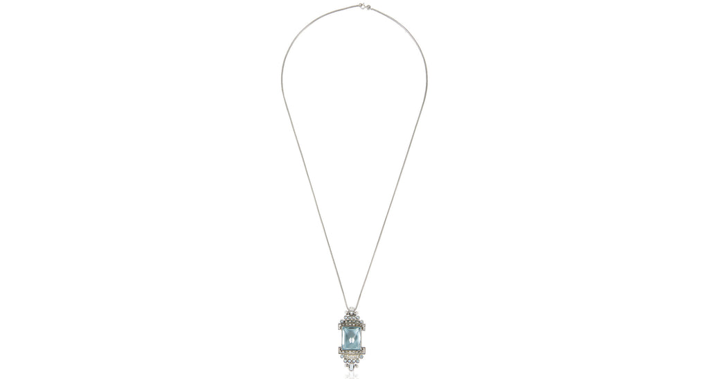 French Art Deco Aquamarine Pendant Necklace