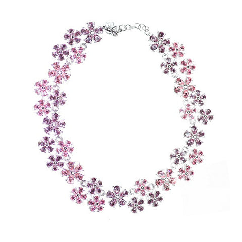 Lavender & Pink Flowers Necklace, White Gold Plated, Circa 1990