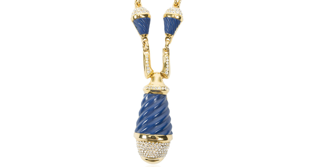 Elaborate Lapis Paste Pendant Necklace, Circa 1974