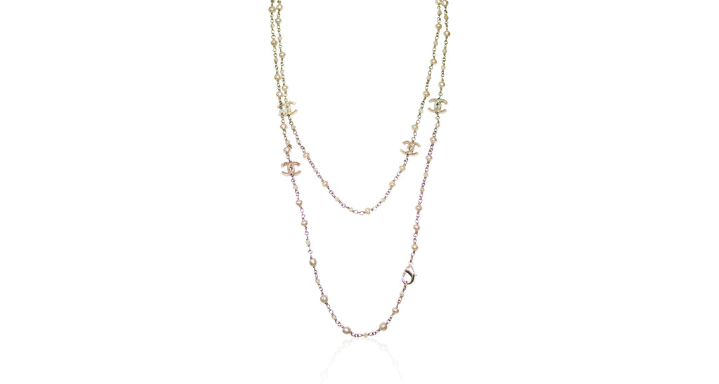 Pearl & Gold CC Chain Necklace