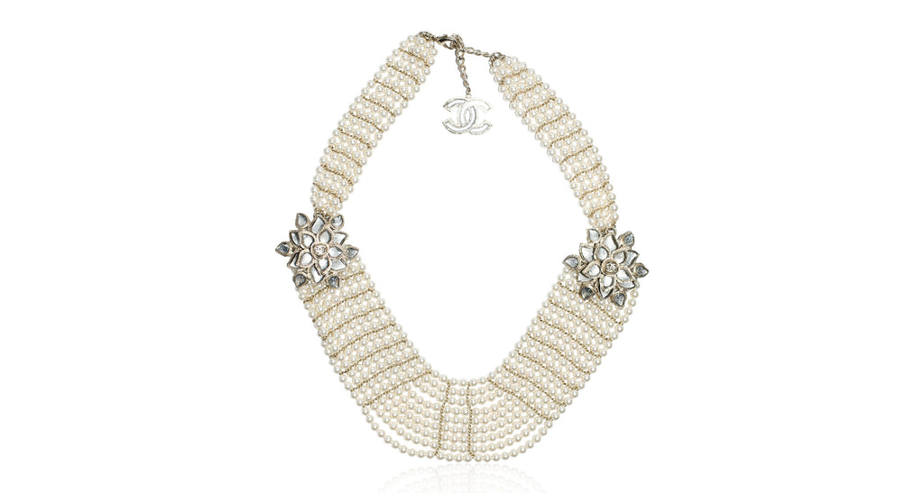9 Strand Pearl Necklace with Gripoix Camellia