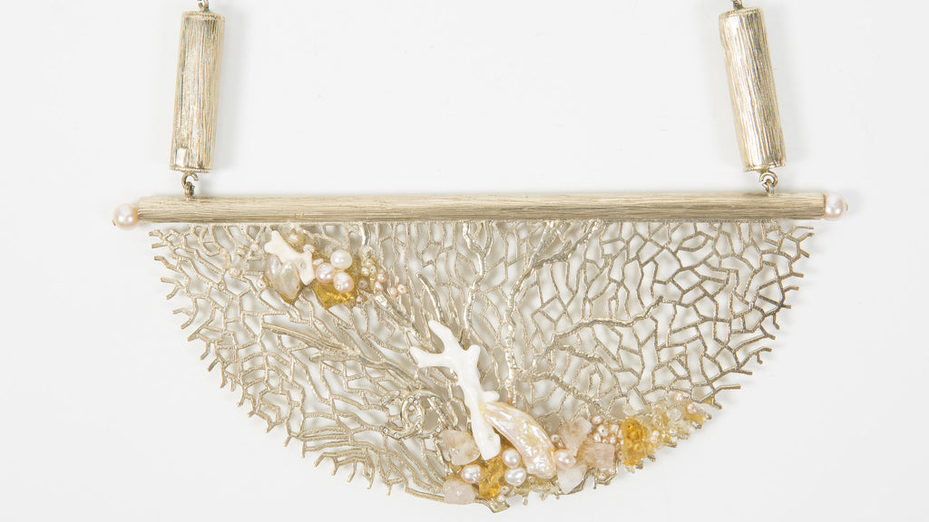 Coral Inspired Gold Plate Necklace with Pearl Detail