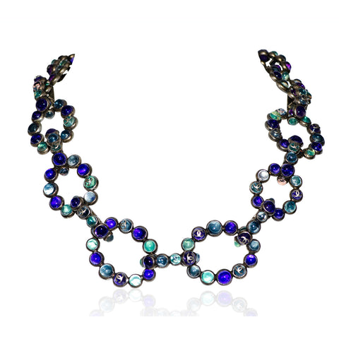 Metallic Chain Necklace with Multi-Colored Glass Stones