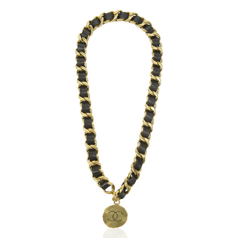 Gold Tone Curb Link with Woven Black Leather & Logo Charm Necklace (& Belt)