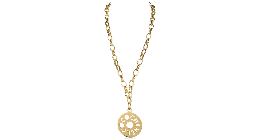 Jumbo 'Coco Chanel' Disk Pendant Necklace, Circa 1970
