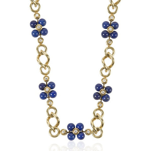 1970s French Lapis & Gold Flower Necklace