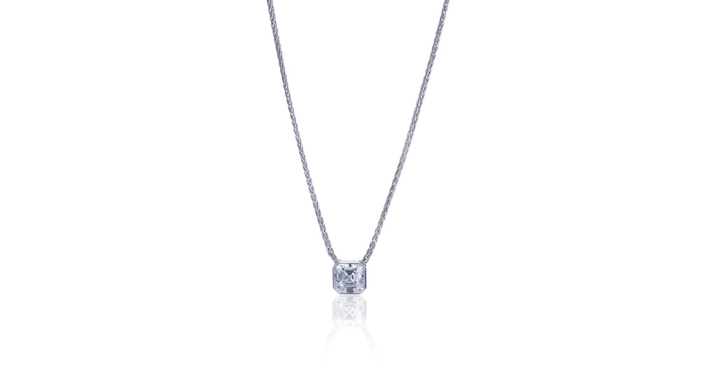 Asscher Cut Diamond & Platinum Pendant Necklace