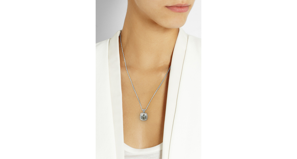 Albion Pendant Necklace (incl. chain) with Prasiolite and Diamonds