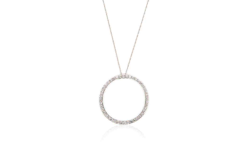 Diamond & White Gold French Style Round Pendant Necklace