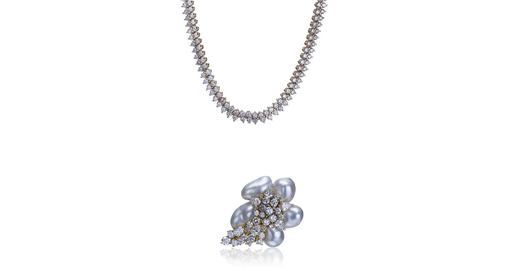Diamond & Pearl Pendant Necklace (& Brooch)