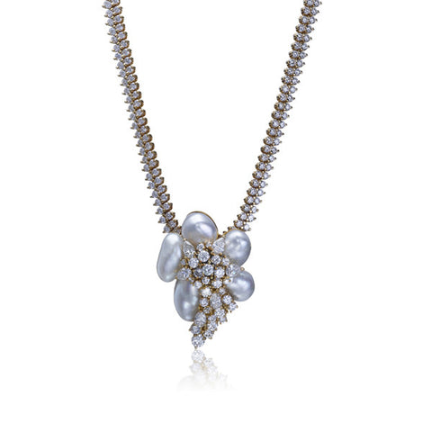 Henry Dunay Diamond & Pearl Pendant Necklace (& Brooch)