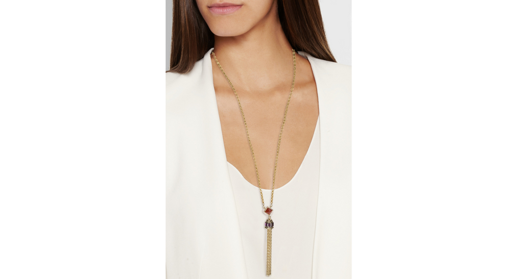 Swarovski Crystal & Carnelian Tassel Necklace, Red