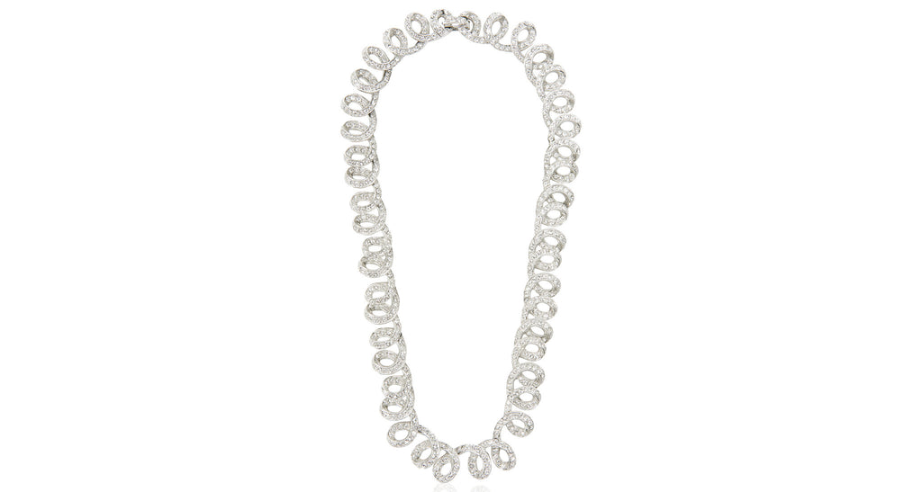 Loop Links Necklace Set With Clear Paste In Rhodium, Circa 1950