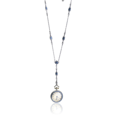 Marcus & Co Blue Guilloche Enamel Pendant Watch with Chain