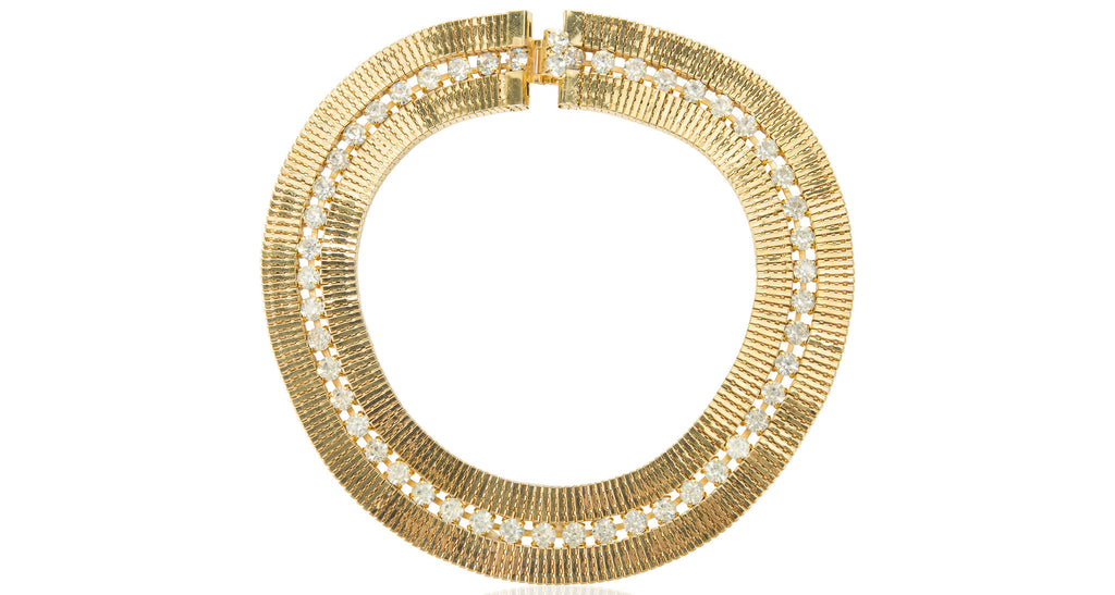 Double Row Snake Chain Gilt & Clear Paste Necklace, Circa 1970