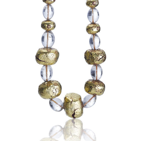 Estate Antique Indian Crystal & Gold Foil Necklace
