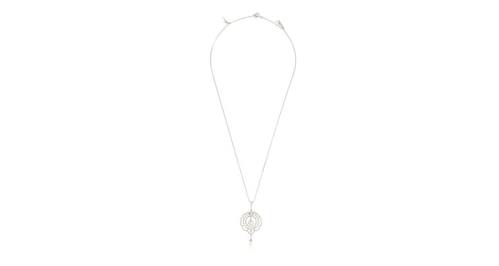 Edwardian Natural Pearl & Diamond Pendant Necklace