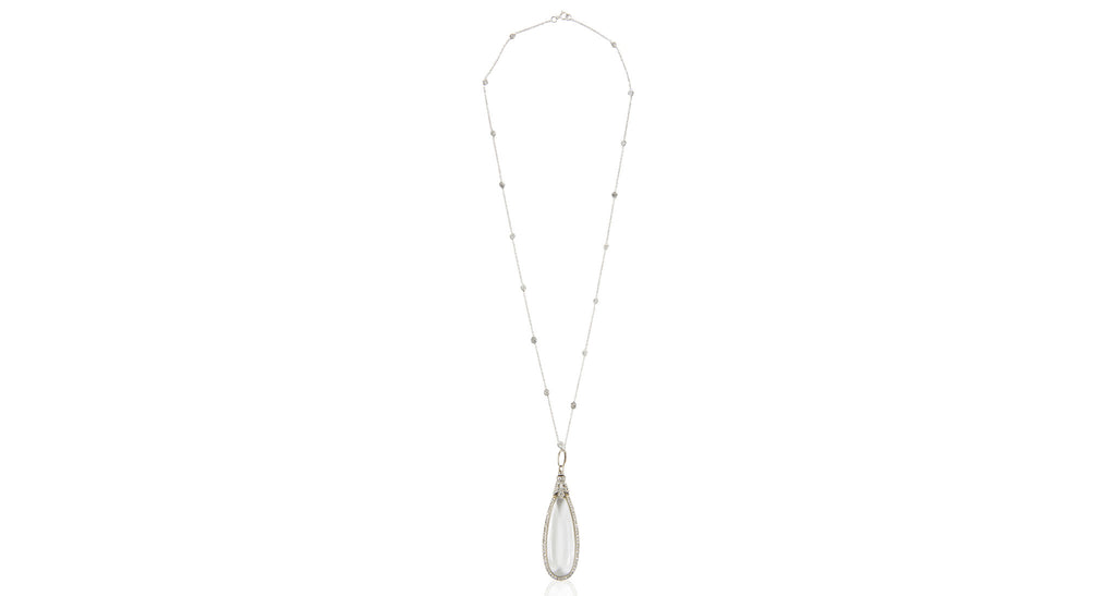 Victorian Crystal & Diamond Drop Pendant Necklace