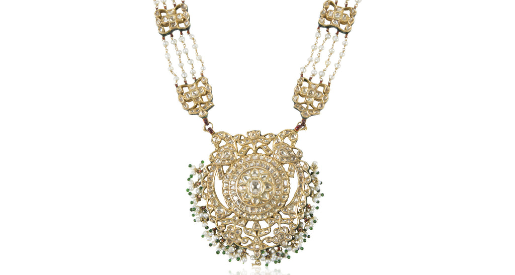 Indian Art Deco Two-Sided Diamond & Gold Pendant Necklace (Estate of Sandra Bernhard)