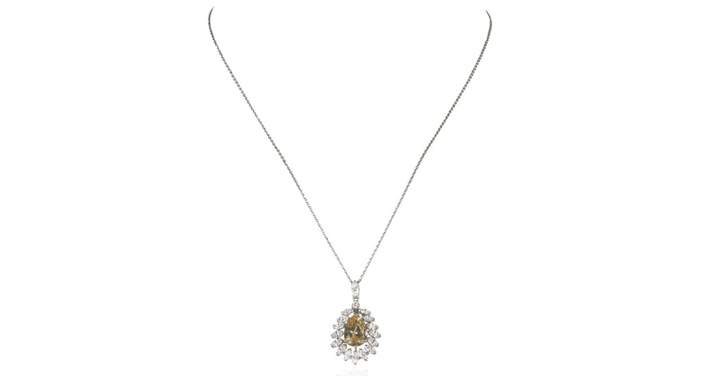 Fancy Yellow Brown Marquise Diamond Pendant Necklace