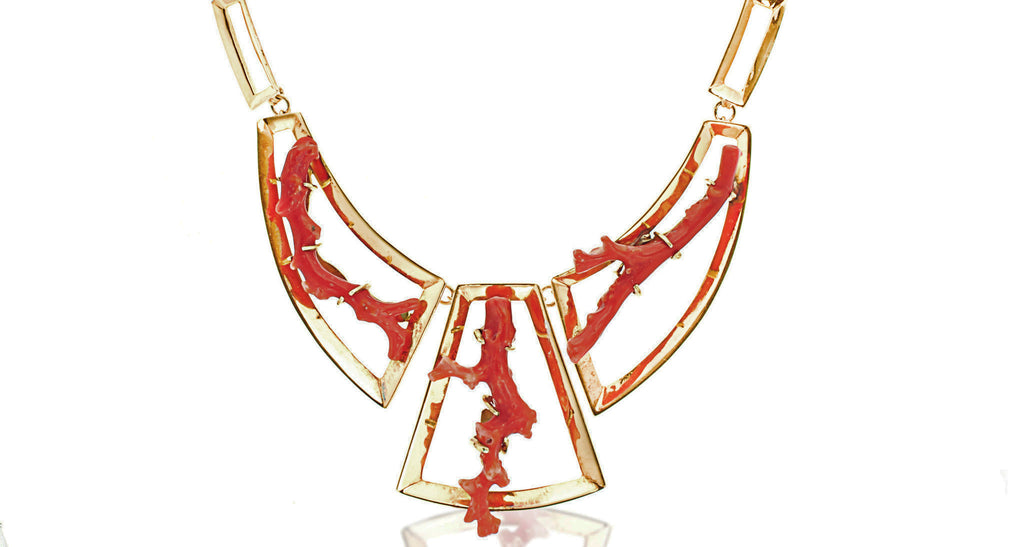 Gilt & Sterling Modernist Mexican Necklace with Coral Branches