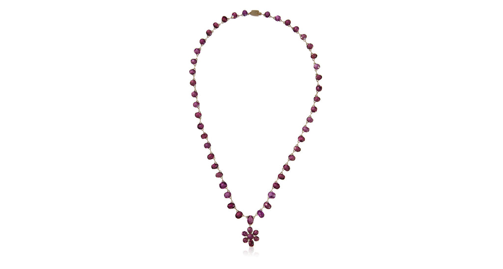 Art Nouveau Garnet Riviera Necklace with Flower Drop Pendant