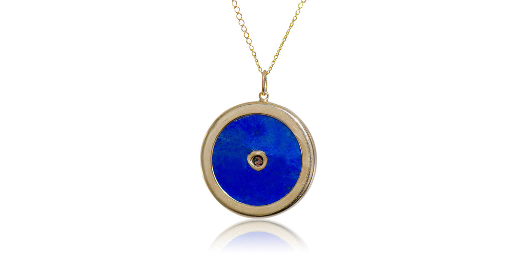 Lapis & Pearl Moon & Star Pendant Necklace
