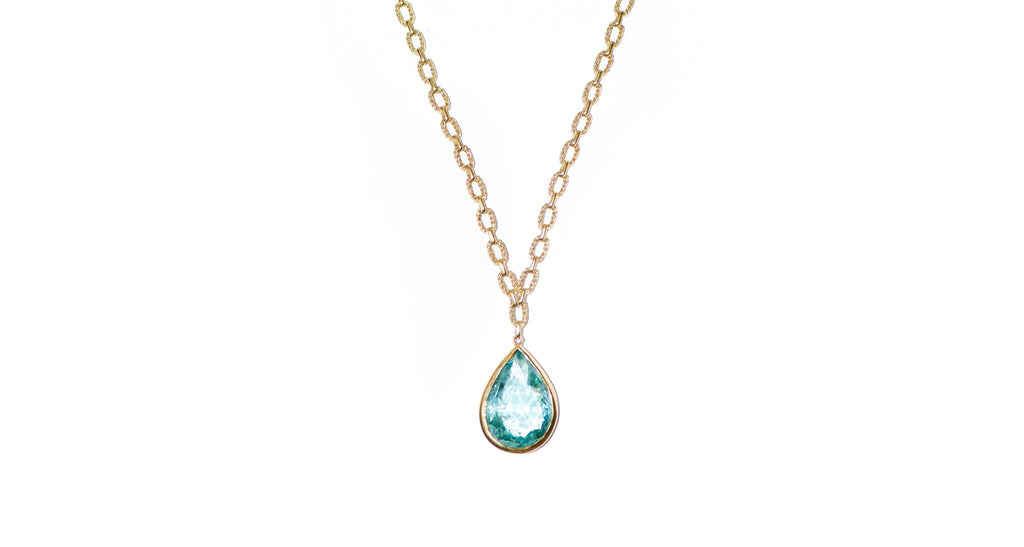 1960s Faceted Aquamarine Pear Shaped Pendant Necklace
