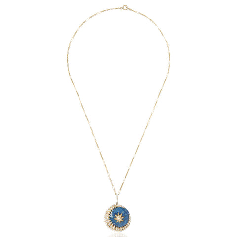 Moon & Star Sodalite Pendant Necklace in 14K Yellow Gold & Seed Pearls