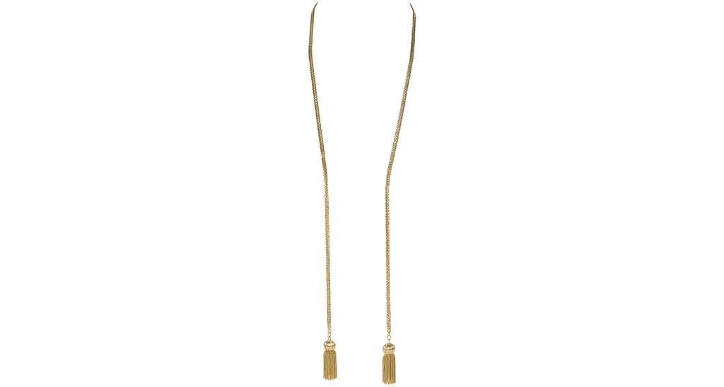1960s Lariat Tassel Necklace in 18K Yellow Gold (83.7 Grams)