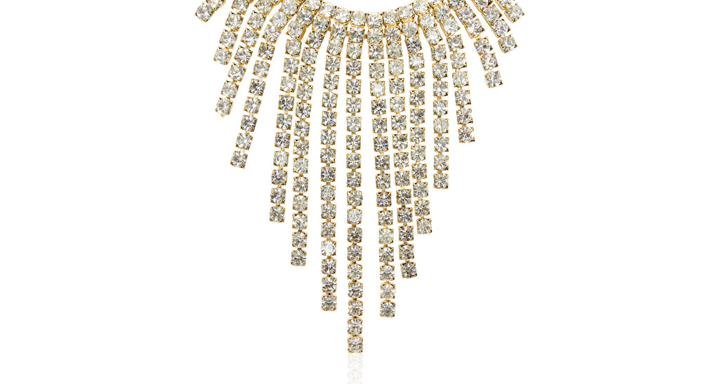 Clear Paste V-front Fringe Double Strand Waterfall Necklace, Circa 1990